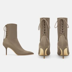 NWT ZARA Taupe Lace-Up Knit Ankle Pointed Heels